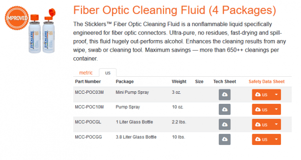 poc03m fiber optic cleaning fluid from sticklers